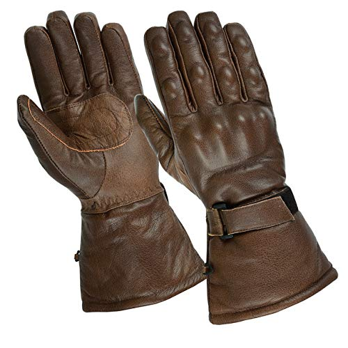 Gallanto Brown Motorcycle Armored Thinsulate Leather Winter Gloves...