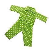 MagiDeal Puppen Pyjama mit Tupfen, Puppe Schlafanzug für 18 Zoll Puppe Zubehör - Weiß + Grün