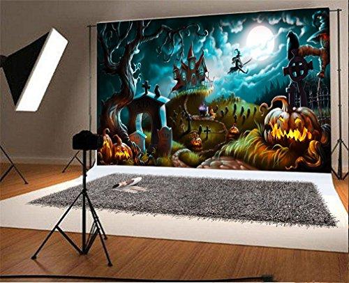 YongFoto 2,2x1,5m Vinilo Fondo de Fotografia Halloween Night Mystery Graveyard Telón de Fondo Fiesta Niños Boby Boda Adulto Retrato Personal Estudio Fotográfico Accesorios