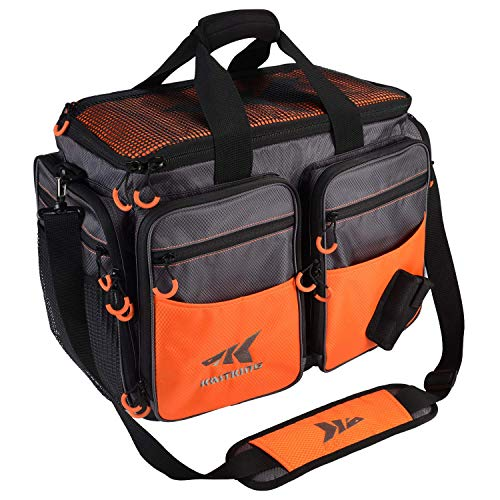 KastKing Fishing Tackle Bags, Fishing Gear Bag, Saltwater Resistant Tackle Bag, Large-Lunker (Without Trays, 19.7x13x10.6 Inches), Orange