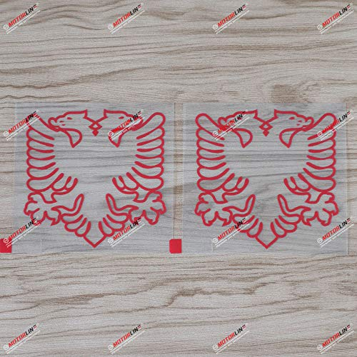 2X red 5'' Albania Double Headed Eagle Decal Sticker Albanian Car Vinyl Die Cut no bkgrd Style c