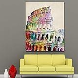 ZGZART Cuadro de Lienzo de Coliseo Romano Abstracto con impresión HD, Arte Pop Moderno, Imagen de Pared Famosa para Sala de estar-50x70cm / sin Marco