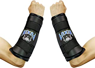 Luwint Taekwondo Forearm Protector, TKD Boxing Arm Forearm Guards with Adjustable Straps Support for Muay Thai Training Kickboxing Exercise, Black