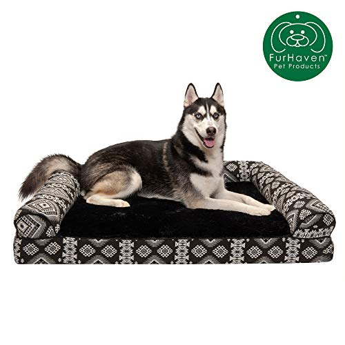 Furhaven Pet Dog Bed | Orthopedic Plush Kilim Southwest Home Decor Traditional Sofa-Style Living Room Couch Pet Bed w/Removable Cover for Dogs & Cats, Black Medallion, Jumbo