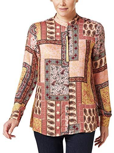Walbusch Damen Edel Panneaux Druck Bluse Gemustert Multicolor 48 - Langarm