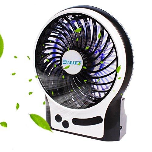 Etmury USB Ventilator,Fan Tischventilator Standventilator Mini,Mini Fan 3 Geschwindigkeiten Lüfter mit LED Licht Ventilatoren,Kühlventilator Tischventilator Laptop-Fan für Haus,Büro,Kampieren