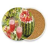 JOOCAR Posavasos redondos de cerámica para bebidas, juego de 2 cestas cortadas de una sandía cerca de las flores, con respaldo de corcho para mesa de café de madera