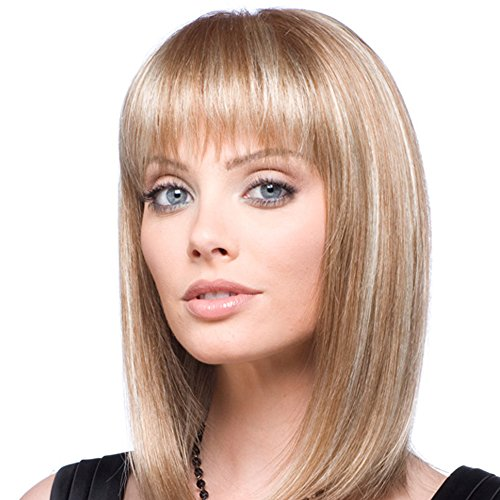 Emmor Natural Blonde Human Hair Wigs for Women and Lady ,Shoulder Length Bob Wig Blend With Healthy Kanekalon Fiber with Straight Bangs , Daily Use (Color 30/613)