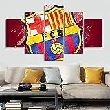 GHDE& HD 5 Stücke Barcelona-Flaggen-Logo Plakate Fußball Leinwand Gemälde Wandkunst Druckt Bilder Jungen Sport Schlafzimmer Dekoration Modular,B,20 * 35 * 2+20 * 45 * 2+20 * 55 * 1