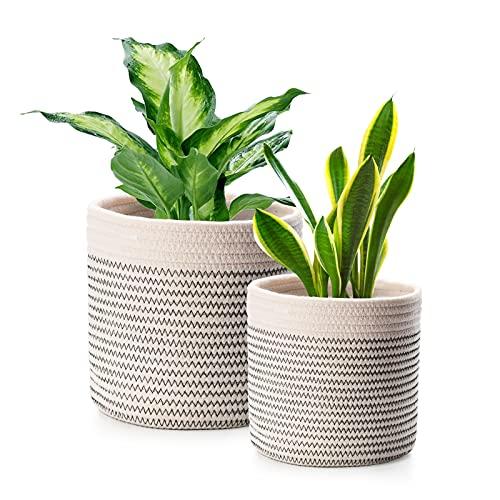 FairyLavie Paquete de 2 cestas de Cuerda de algodón para decoración de macetas, Cesta Multifuncional Ideal para decoración del hogar y Almacenamiento, 28 cm y 20 cm