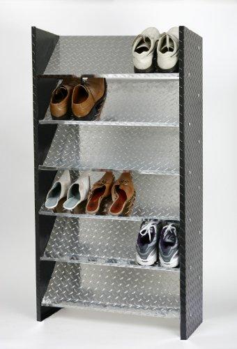 Schuhregal Metall ALU, 125 x 60 x 26 cm, 18 Paar, 6 Böden, Bicolor, Marke: Szagato, Made in Germany (Design-Schuhschrank 60cm breit; Regal für Schuhe)