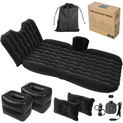 Car Air Mattress - Back Seat Inflatable Portable Bed, Headrest, 2 Pillows, Blow Up Footstools/Coolers, Electric Pump - Sleep on Road Trips, Travels, Camping for Couples, Children - SUV Compatible
