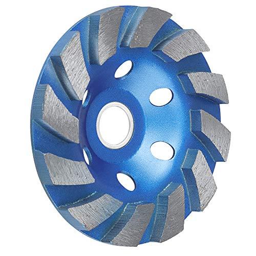 SUNJOYCO 4' Diamond Cup Grinding Wheel, 12-Segment Heavy Duty Turbo Row Concrete Grinding Wheel Disc for Angle Grinder, for Granite, Stone, Marble, Masonry, Concrete