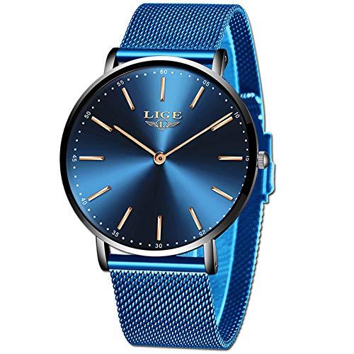 LIGE Herren Uhren Ultradünn Wasserdicht Analog Quarz Uhren Herren Geschäft Blau Mesh Uhren