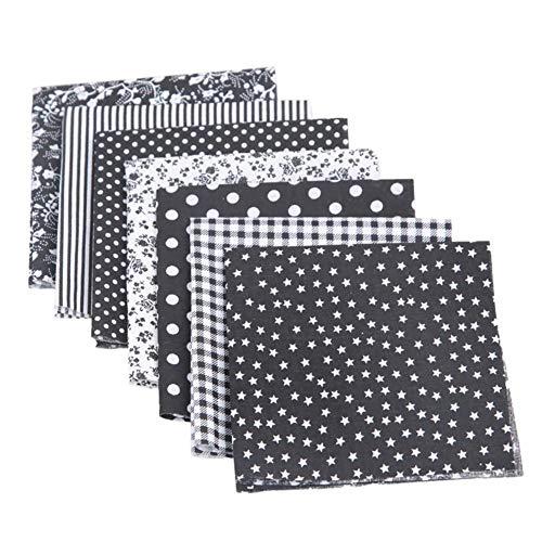 Dosige 7 delen, handgemaakt, katoen, patchwork-groep van gladde stof, voor het naaien van plakboeken, voor stoffen, handwerk, textiel  Blanco Y Gris