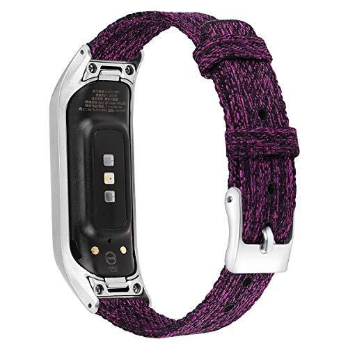 Newcool Correa de lona compatible con Samsung Galaxy Fit E R375 Smartband Fit-e Watch Band para hombres y mujeres Moda Nylon Tela de reemplazo Ocio Pulsera tejida (pequeño, morado)