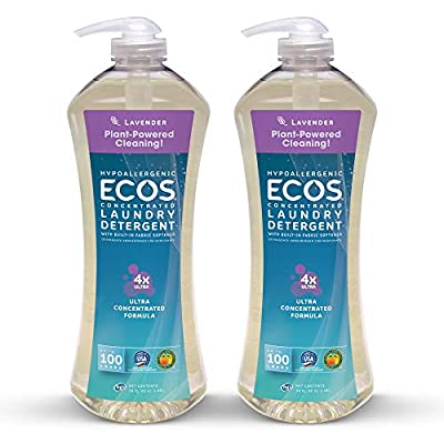 Earth Friendly Products Ecos 4X Ultra Concentrated Liquid Laundry Detergent, 200 Loads, 2 x 50 oz Lavender (2Count)