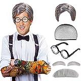 Beelittle Old Man Mad Scientist Set de pelucas Albert Einstien Ben Benjamin Franklin Disfraz de abuelo - Peluca, cejas, bigote, gafas de vestir (A)