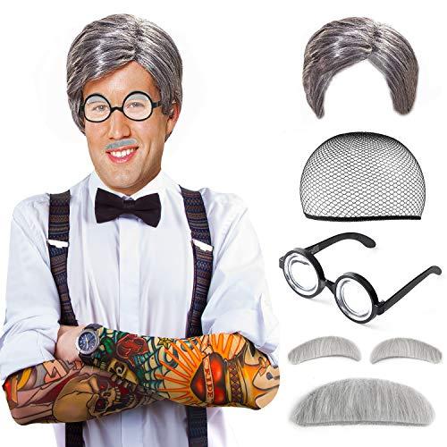 Beelittle Old Man Mad Wissenschaftler Perückenset Albert Einstien Opa Kostüm - Perücke, Augenbrauen, Schnurrbart, Brilke Kappe Brille Brillen Ketten Armband Perlenkette - 5 Stück (A)