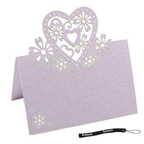Puissance Ferhd 50 pcs Amour Coeur découpé au laser fête de mariage Table Nom Place Cartes Décoration à dragées violet