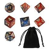 GWHOLE 7 Piezas Dados Poliédricos Dados para Juegos de rol y Mesa Dungeons y Dragons DND RPG MTG con Bolsa Negra (Brillo Naranja)