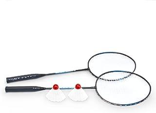 comprar comparacion Set de bádminton 2 volantes 2 raquetas En azul y negro Aluminio