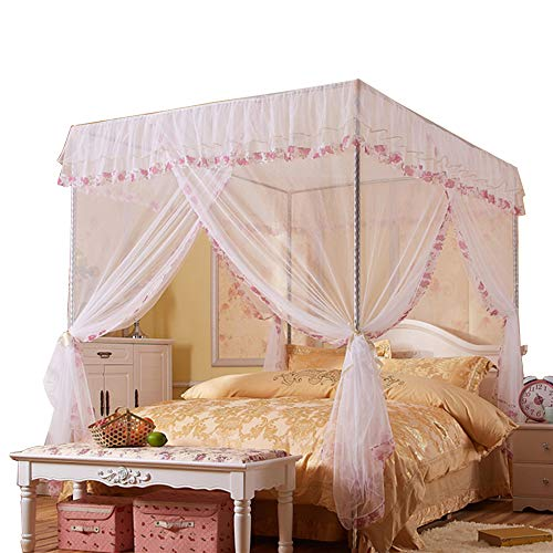 JQWUPUP Mosquito Net for Bed - 4 Corner Canopy for Beds, Canopy Bed Curtains, Bed Canopy for Girls Kids Toddlers Crib, Bedroom Decor (Twin Size, White)