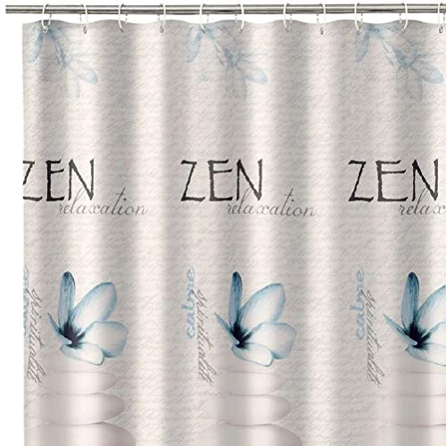 D,casa - Cortina Zen Azul de poliéster Oriental para Cuarto de baño de 180 x 200 cm Sol Naciente