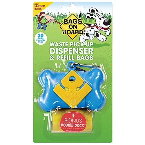 Bags on Board Dog Waste Bag Bone Dispenser with 30 Refill Bags, Blue Bags Bags On Board Leash