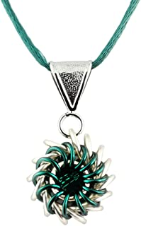 Weave Got Maille Teal Whirlybird Chain Maille Necklace Kit with Swarovski Crystal