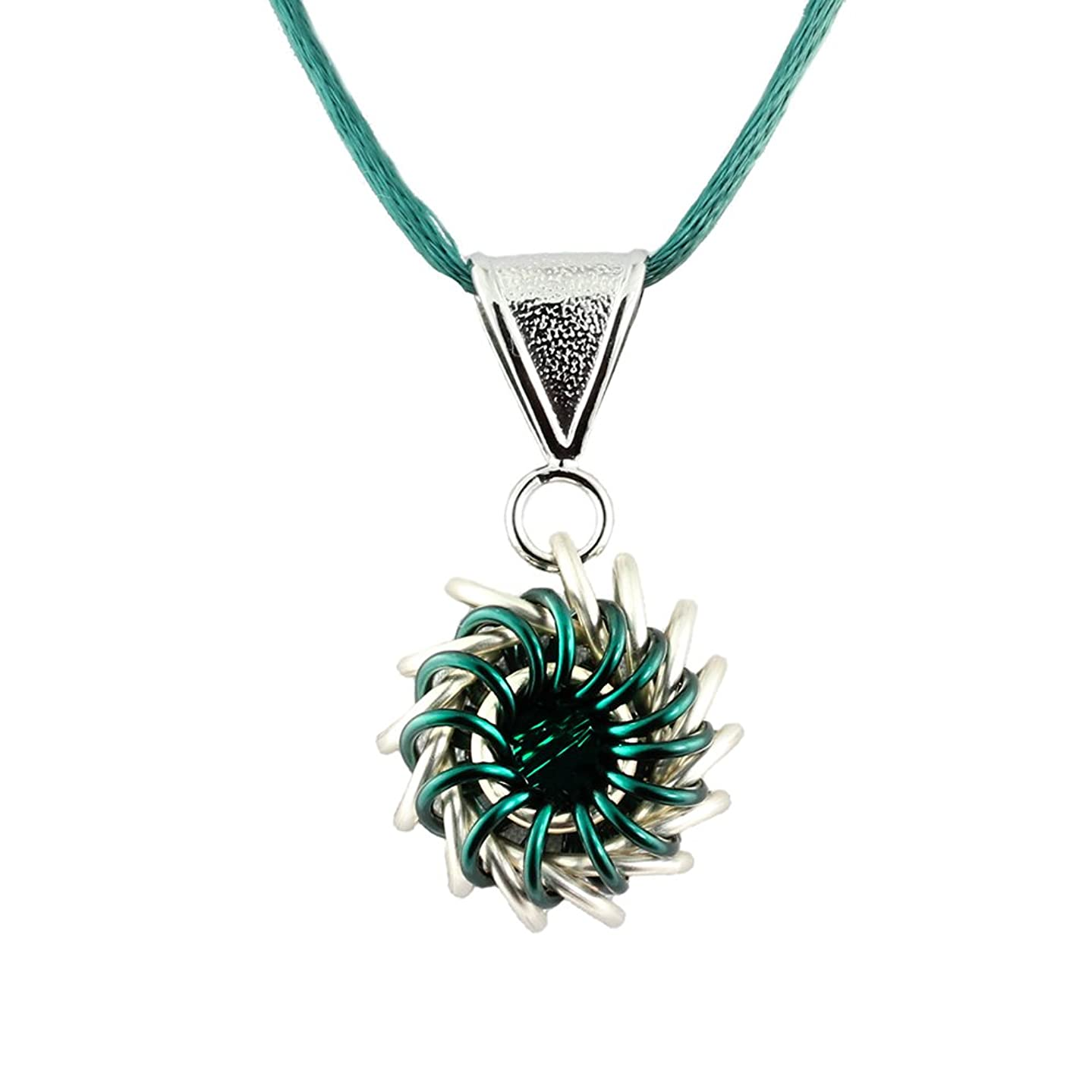 Weave Got Maille Teal Whirlybird Chain Maille Necklace Kit with Swarovski Crystal,