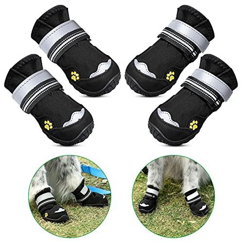 Petbank Lot de 4 bottes pour chien - Semelles antidérapantes robustes - Pour chiens de petite, moyenne et grande taille - Avec bandes réfléchissantes - Noir