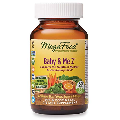 Best postnatal vitamins - MegaFood, Baby & Me 2, Prenatal and Postnatal Vitamin with Active Form of Folic Acid, Iron, Choline, Non-GMO, 60 Tablets