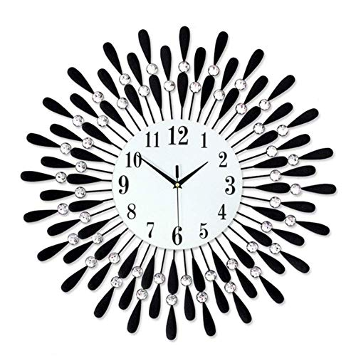 HUHN GAOJIN Modern Wall Clock,Fleble Metal 23.6 Inch Black Drop Wall Clock 3D Non-Ticking Silent Quartz Clocks,White Glass Dial with Arabic Numerals