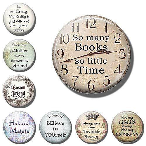 PMSMT Vintage Diciendo Cita Carta Libro imanes de Nevera Reloj imán de Nevera Recuerdo Tablero de Mensajes Nota Adhesiva decoración del hogar