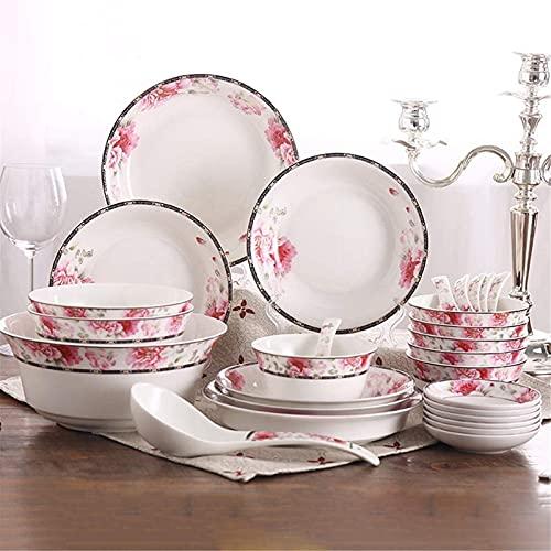 ZRB Juego de vajilla clásica, juegos de cena de cerámica juegos de cena de cerámica, tazón/cuchara/plato|28 piezas vajilla de hueso China vajilla Set - Fiesta familiar y restaurante de cocina