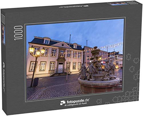 Puzzle 1000 Teile historischer Brunnen auf dem Rathausplatz lippstadt Deutschland am Abend - Klassische Puzzle, 1000/200/2000 Teile, in edler Motiv-Schachtel, Fotopuzzle-Kollektion 'Deutschland'