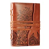 VALERY Unique Writing Journal Gifts-Personalized Brown Vegan Leather Bound Notebook-Refillable Embossed B6 Lined Diary-Beautiful Daily Use Gifts for Men & Women/Vegetarians/Teen Girls & Boys