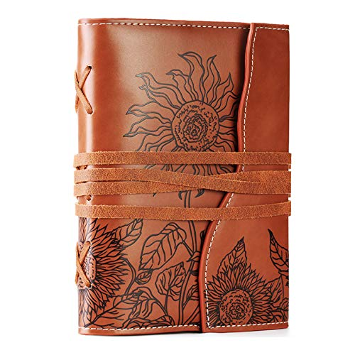 Unique Writing Journal Gifts-Personalized Brown Vegan Leather Bound Notebook-Refillable Embossed B6 Lined Diary-Beautiful Daily Use Gifts for Men & Women/Vegetarians/Teen Girls & Boys