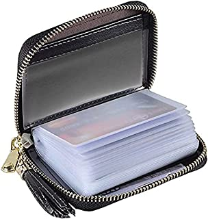 Yuhan Pretty Womens Credit Card Holder Wallet RFID Leather Small ID Card Case(20 Card Slots - Glitter Black)