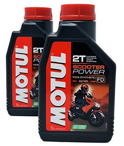 Aceite Mezcla Motul Scooter Power 2T 100% Sintético Ester, Pack 2 Litros
