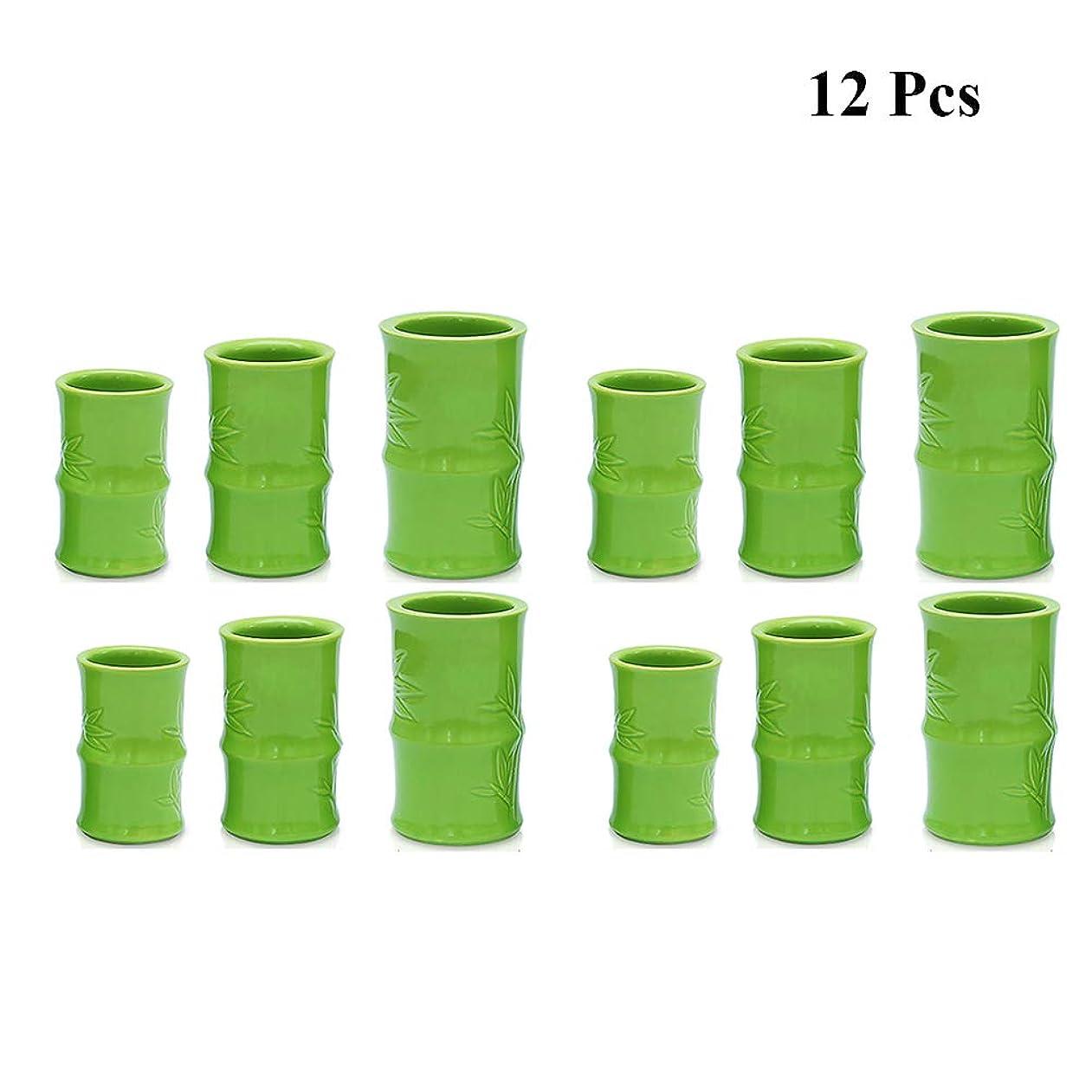 忌み嫌う抵当立証する真空カッピングマッサージ療法セット - 陶磁器の鍋缶 - 鍼ボディセラピーセット,D12pcs