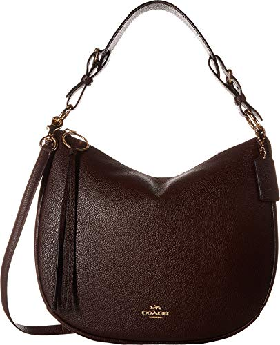 COACH Polished Pebble Leather Sutton Hobo Gold/Oxblood One Size
