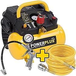 1.100 Watt compressor spiral hose and tire inflator set - 1,5 PS, 8 bar, 6 liter tank - Item # POWX1721 + Accessories
