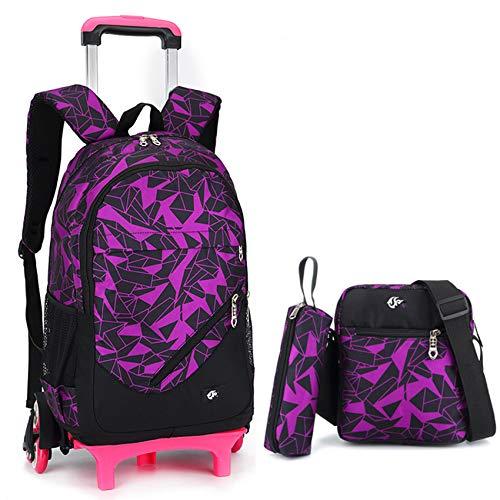 Niños Trolley School Backpack Boys Girls Lightweight Mack Mochila Impermeable Estudiante Primaria Extraíble Daypack con 6 Ruedas Lienzo Gran Capacidad Equipaje para Viajes,Purple-Six Wheel
