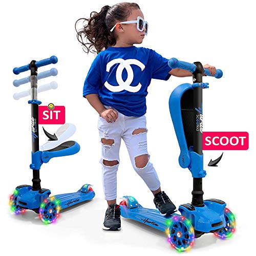 Hurtle 3Wheeled Scooter for Kids  Wheel LED Lights Adjustable LeantoSteer Handlebar and Foldable Seat  Sit or Stand Ride with Brake for Boys and Girls Ages 114 Years Old  Blue