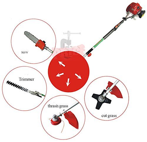 Stark 7ft Long Reach 4 in 1 Gas Chainsaw Trimmer Pole Saw Grass Tree Weed Cutter Powerful Gardening Attachment w/Strap