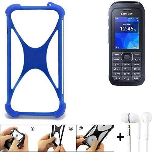 K-S-Trade® Handyhülle Für Samsung Xcover 550 Bumper Schutzhülle Silikon Schutz Hülle Cover Case Silikoncase Silikonbumper TPU Softcase Smartphone, Blau (1x), Headphones