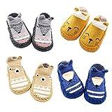 XM-Amigo 4 Paires de Chaussons Chaussettes Semelle Souple Antidérapants pour bébé - 0-24 Mois