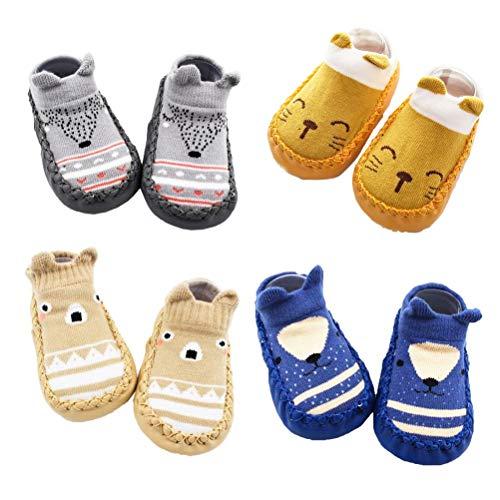 XM-Amigo 4 Pairs of Baby Boys Girls Indoor Slippers Anti-Slip Socks Shoes, Blue Set01, 12-18 Months